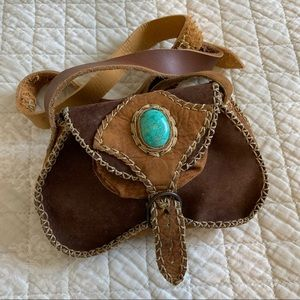 Vintage leather patchwork purse w/ turquoise stone